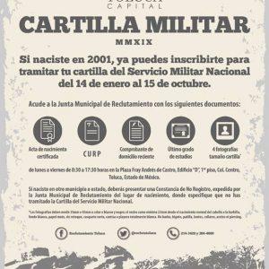 Convoca Toluca a jóvenes nacidos en 2001 a tramitar su cartilla del SMN
