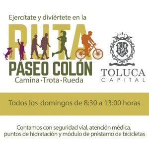 Invita Toluca a la Ruta Paseo Colón,  todos los domingos
