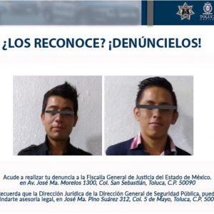 Arresta Policía de Toluca a dos por robo en Tecaxic
