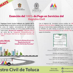Durante campañas de regularización, toluqueños podrán realizar de forma gratuita trámites del Registro Civil