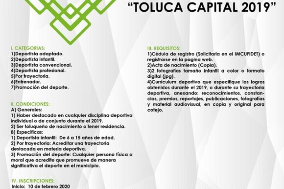 "Lanza IMCUFIDET convocatoria para el Premio Municipal del Deporte ""Toluca Capital 2019"""