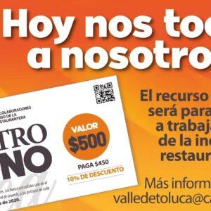 """Apoya al sector restaurantero de Toluca adquiriendo """"Gastrobonos"""""""