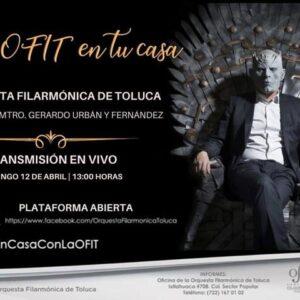 Invita Toluca a disfrutar del concierto en línea La OFiT en tu casa