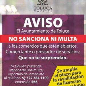 Amplía Toluca periodo para revalidación de licencias de funcionamiento