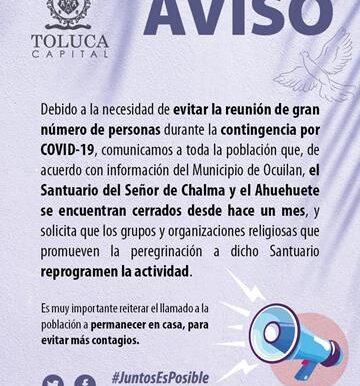 Pide Toluca reprogramar peregrinaciones para evitar contagios de COVID-19