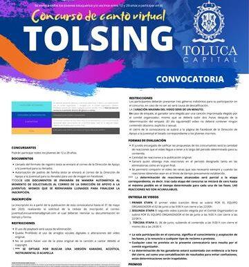 Invita Toluca al concurso de canto virtual Tolsing
