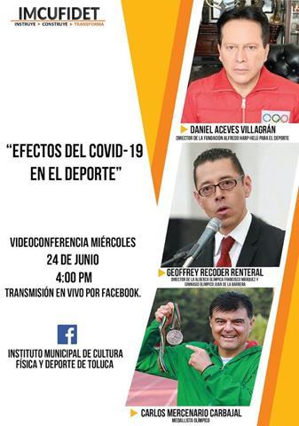 """Invita IMCUFIDET a videoconferencia """"Efectos del COVID-19 en el deporte"""""""