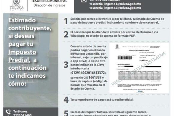 Ofrece Toluca alternativas para el pago de contribuciones municipales