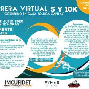 """Invita IMCUFIDET a participar en la carrera virtual de 5 y 10K """"Corriendo en Casa Toluca Capital"""""""