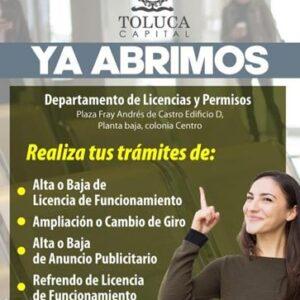 Con cita previa, reabren oficinas de Licencias y Permisos en Toluca
