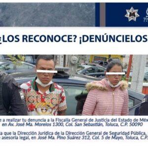 Policía Municipal de Toluca, detiene a dos presuntos delincuentes relacionados con robo a transeúnte