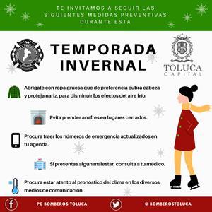 PC Toluca advierte sobre bajas temperaturas para el fin de semana