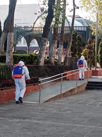 Toluca continúa con acciones de desinfección de espacios públicos
