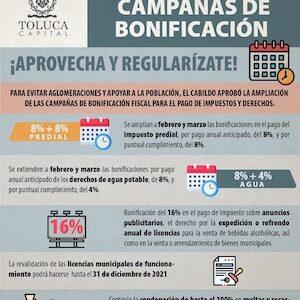 Apoya Toluca la economía familiar con campañas de bonificación fiscal