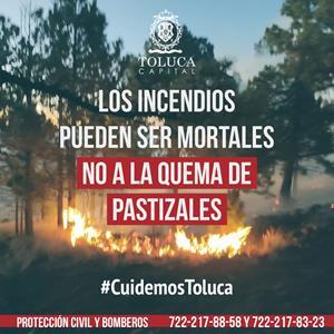 Llamado enérgico de Toluca para evitar quemas de pastizales