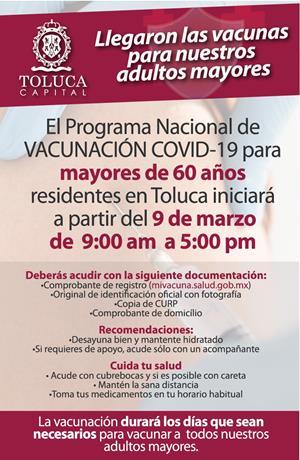 Llegan a Toluca las vacunas contra el COVID-19 para nuestros adultos mayores