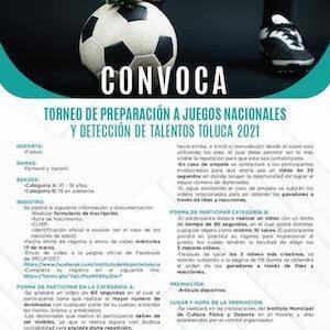 Invita IMCUFIDET a participar en torneo rumbo a los Juegos Nacionales y Detección de Talentos Toluca 2021