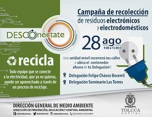 Invita Toluca a deshacerte de los residuos electrónicos y electrodomésticos
