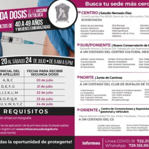 Iniciará el martes 20 la aplicación de la segunda dosis de la vacuna de COVID-19 a la generación de 40 a 49 años en Toluca
