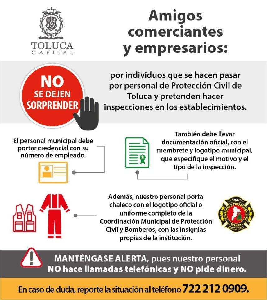 Alerta PC de Toluca sobre bomberos pirata