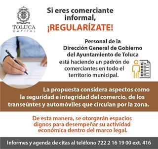 Impulsa Ayuntamiento de Toluca alternativas para regularizar el comercio informal